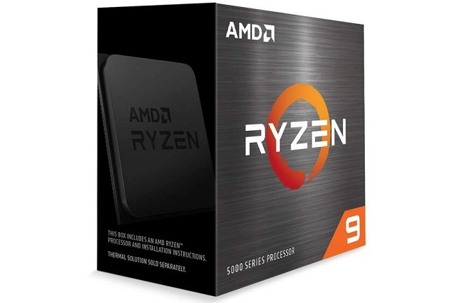 Image of an AMD Ryzen 9 5900x CPU box against a white background