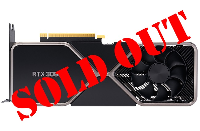 """Image of an Nvidia RTX 3060 GPU with the words """"sold out"""" written across it in red"""
