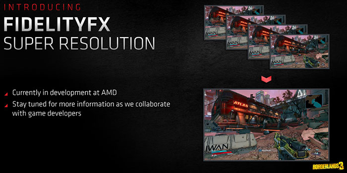 Promotional image showing FidelityFX Super Resolution in Borderlands 3 with a message to 'stay tuned for more information'