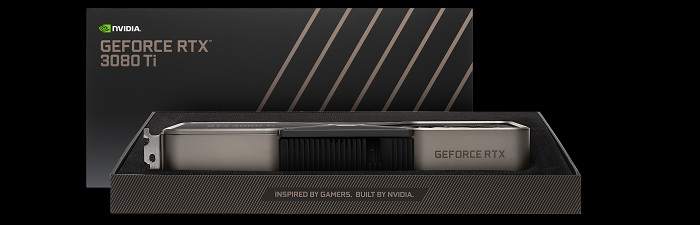 Promotional image of the Nvidia RTX 3080 Ti sat in its box with the lid placed behind it