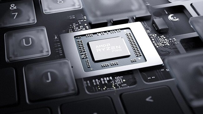 Promotional image of an AMD Ryzen APU chip