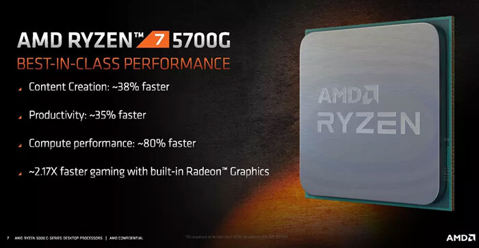 Informational image that provides some details about the AMD Ryzen 7 5700G APU - content creation is 38% faster, productivity is 35% faster, compute performance is 80% faster and it has 2.17x faster gaming with built-in Radeon graphics