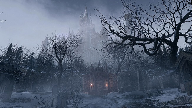 Gameplay screen capture image from Resident Evil Village taken looking up at Castle Dimitrescu from a foggy graveyard
