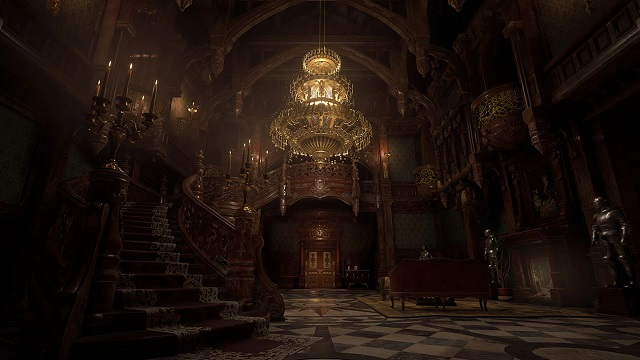 Gameplay capture image from Resident Evil Village of a grand foyer inside Castle Dimitrescu lit up by a large chandelier