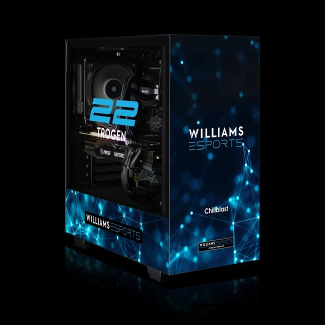 Image of the Chillblast Official Williams Esports Ultimate Gaming PC against a black background