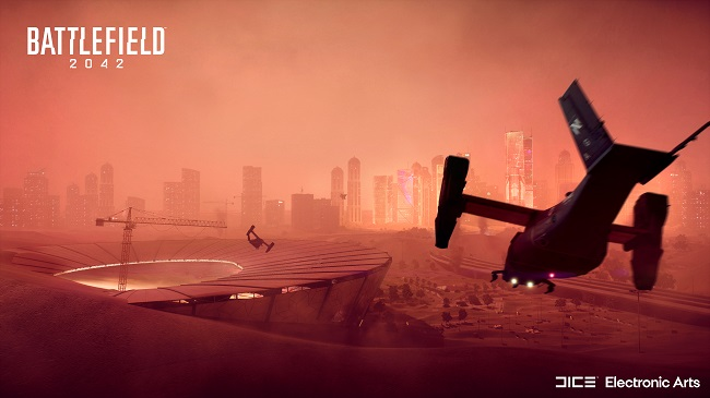 Cinematic image of the Battlefield 2042 map called Hourglass