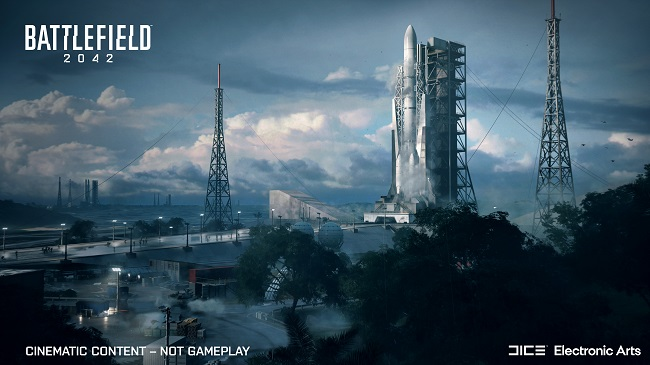 Cinematic image of the Battlefield 2042 map called Orbital