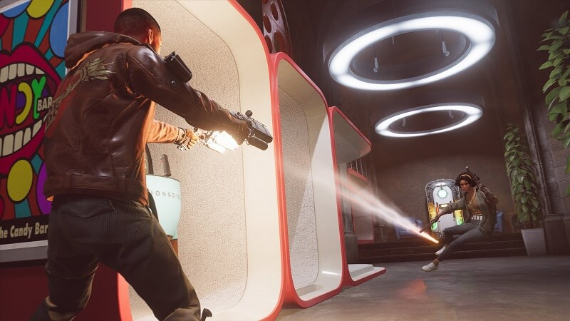 Game capture image of Deathloop by Bethesda showing a female character dodging bullets