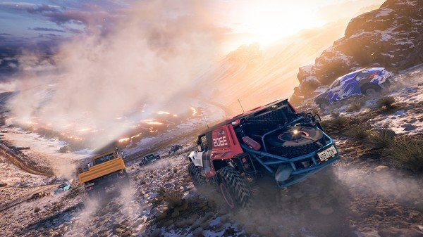 Game capture image from Forza Horizon 5 of a group of cars driving down a mountain