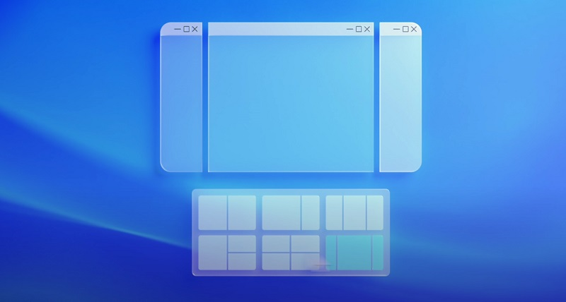 Promotional image for Microsoft Windows 11 snap groups functionality showing different window sizes and combinations