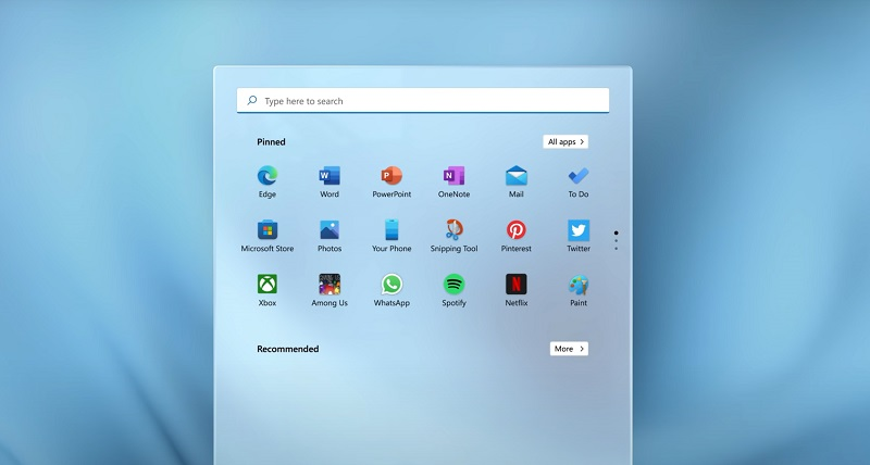 Image of the Windows 11 search bar with pinned apps underneath