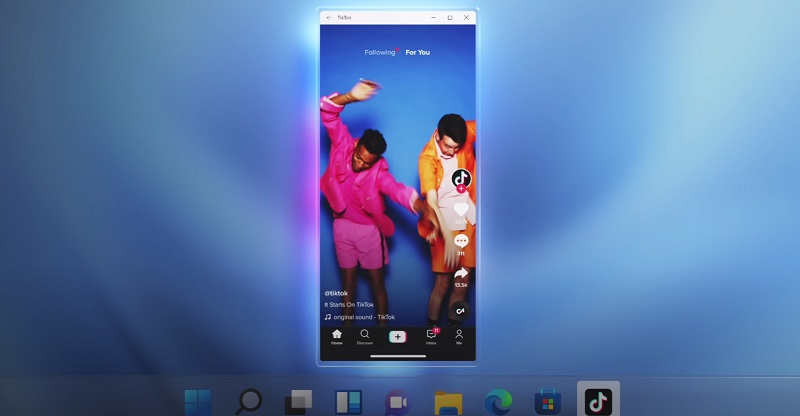 Image showing Microsoft Windows 11's android app compatibility with a TikTok window open