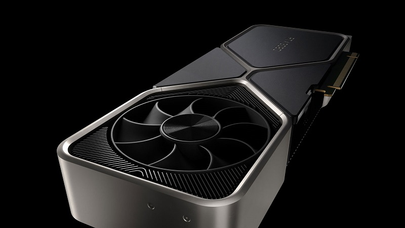 Close up image of the top-side fan on the Nvidia RTX 3080 GPU