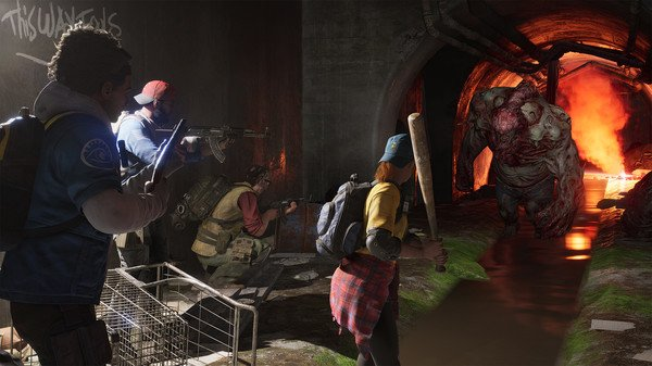 Game capture image from Back 4 Blood showing the characters facing up to a large zombie in a tunnel