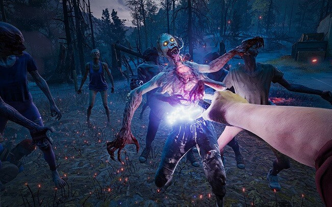 Back 4 Blood game capture image of a zombie being shot in the torso by a taser