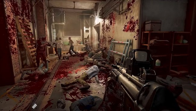Game capture image from the players point of view showing zombies that have just been shot down