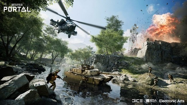 In game image of Battlefield 2042 that showcases tanks and helicopters amongst the fighting soldiers