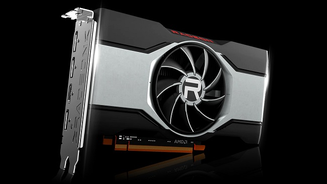 Image of the underside of the AMD RX 6600 XT GPU against a black background