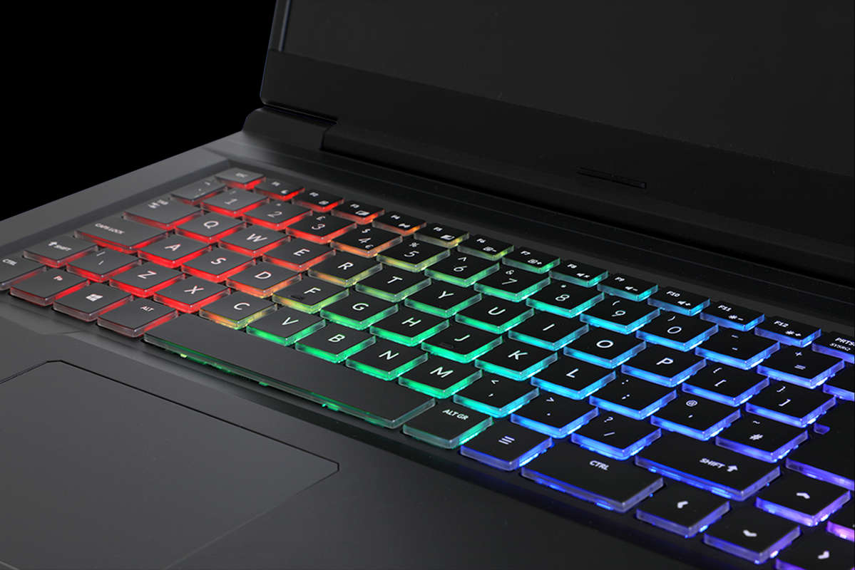 """Image of the Chillblast Defiant 17"""" Gaming Laptop's RGB keyboard"""