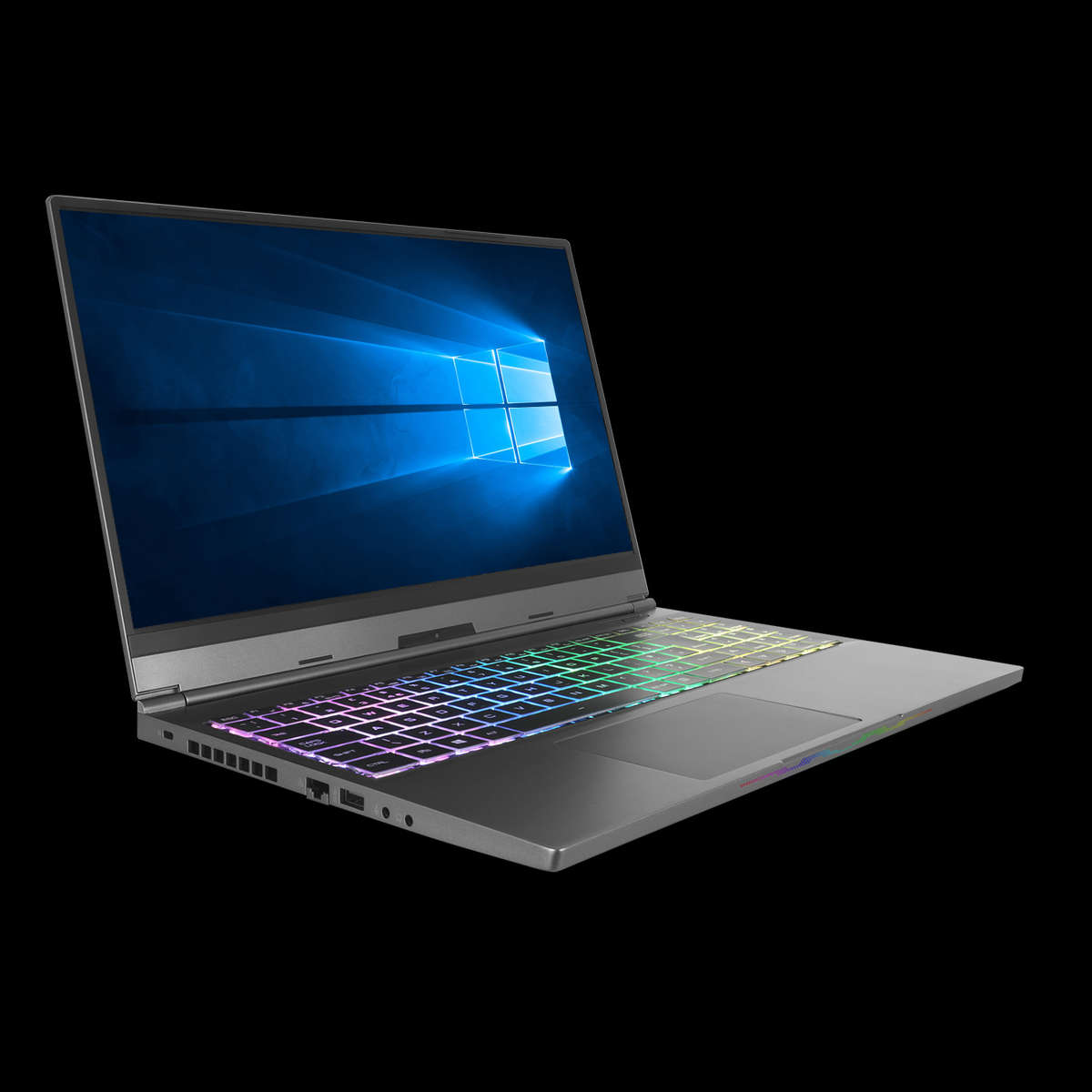 Image of an open Chilblast Phantom 15 inch RTX Gaming Laptop with a Microsoft Windows image on the screen