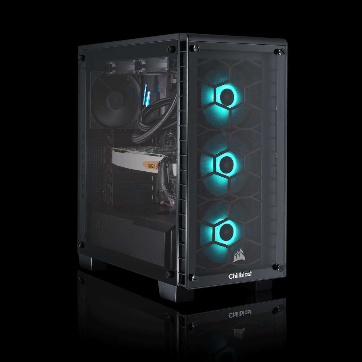 Image of the pre-built Chillblast Nova Advanced Gaming PC against a dark background.