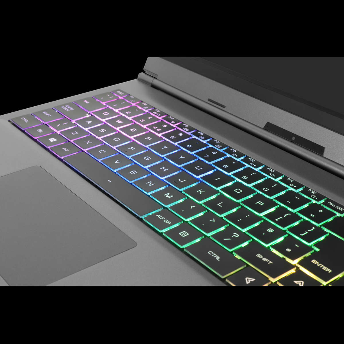 "Close up the RGB keyboard on the Chillblast Phantom 15"" RTX Gaming Laptop"