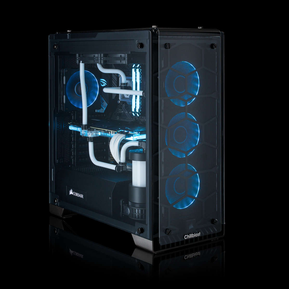 Image of a watercooled Chillblast Fusion Hailstorm X RGB Gaming PC with glowing blue fans