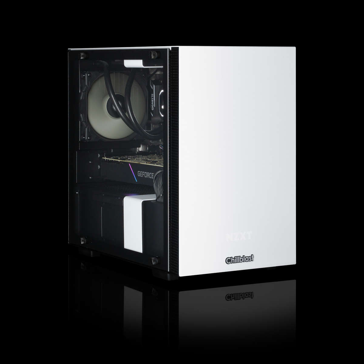 Image of the pre-built Chillblast Ion Advanced Gaming PC against a dark background.