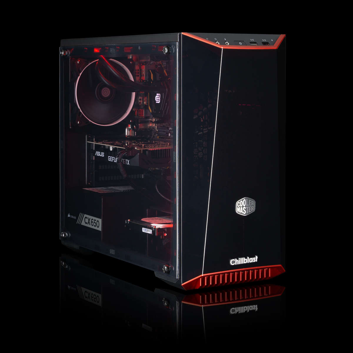 Image of the pre-built Chillblast Neptune Advanced Gaming PC against a dark background.