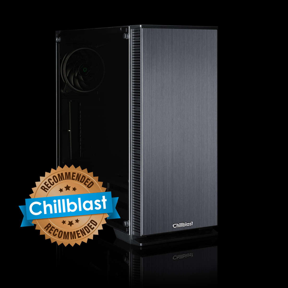 Image of the Chillblast Fusion Pentium G5400 Family PC against a dark background.