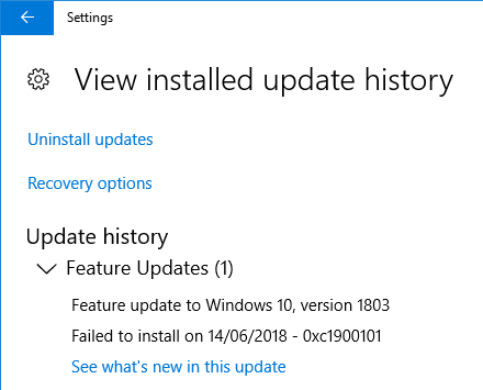 feature update to windows 10 version 1803 failed